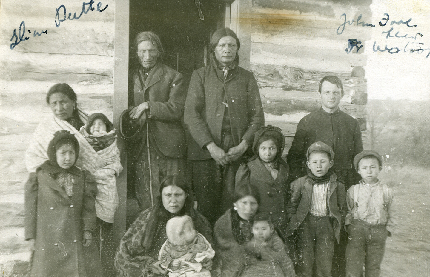 Henry Westropp, S.J., visiting John Fool Head and family, n.d., 1890-1920, Slum Buttes, SD