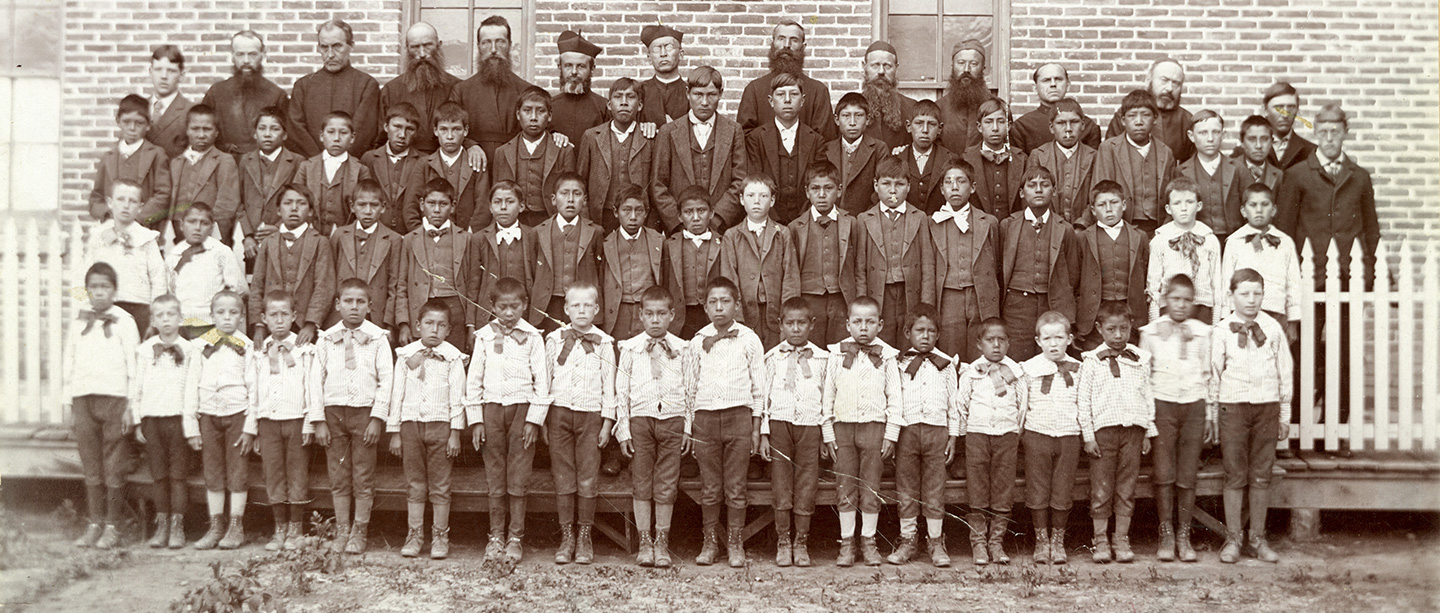 Jesuits and boys, n.d., 1890-1900, Holy Rosary Mission, SD